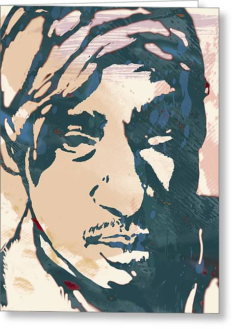 Poster For His Greeting Cards - Tupac Shakur stylised pop art poster Greeting Card by Kim Wang