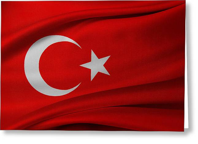Best Sellers -  - Textile Photographs Greeting Cards - Turkish flag Greeting Card by Les Cunliffe