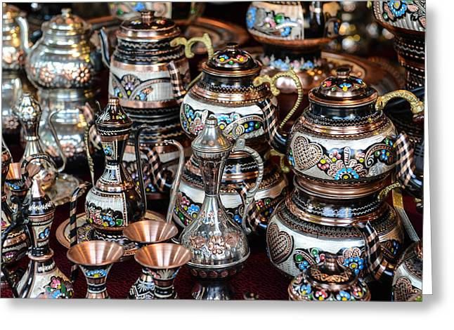 Oriental Teapot Greeting Cards - Turkish Teapots for Sale in Istanbul Turkey Greeting Card by Brandon Bourdages