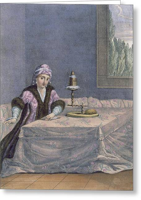 Turkish Woman Spinning Thread, C.1708 Greeting Card by French School