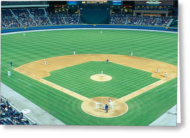 Baseball Game Photographs Greeting Cards - Turner Field At Night, World Champion Greeting Card by Panoramic Images