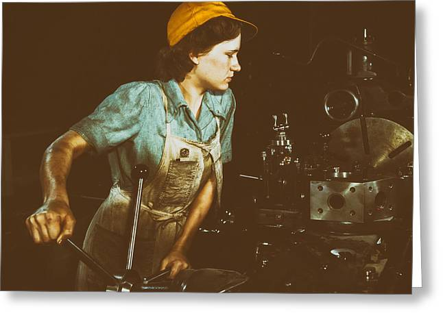 Female Worker Greeting Cards - Turret Lathe Operator - 1942 Greeting Card by Mountain Dreams