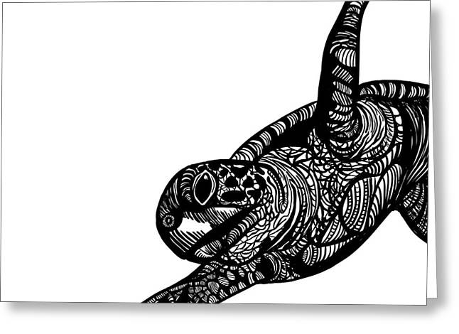 Line Drawing Greeting Cards - Turtle Greeting Card by HD Connelly