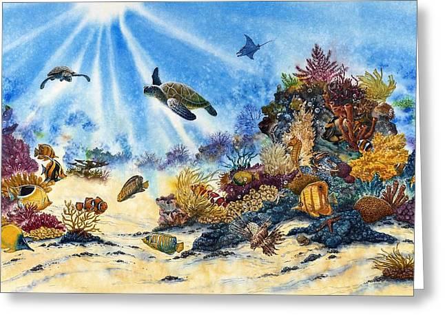 Undersea Art Greeting Cards - Turtle Greeting Card by John YATO