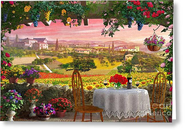 Italian Wine Digital Greeting Cards - Tuscany Hills Greeting Card by Dominic Davison