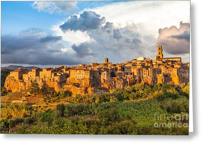 Tuscan Sunset Greeting Cards - Tuscany Sunset Greeting Card by JR Photography