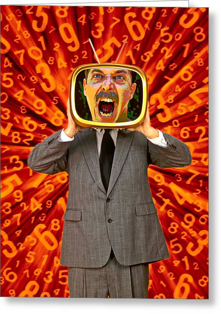 Furious Greeting Cards - TV Man Greeting Card by Garry Gay