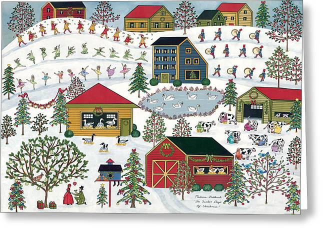 12 Days Of Christmas Greeting Cards - Twelve Days Of Christmas Greeting Card by Medana Gabbard