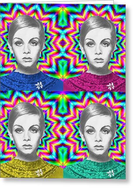 Twiggy Portrait Greeting Cards - Twiggy Greeting Card by Alexander Gilbert