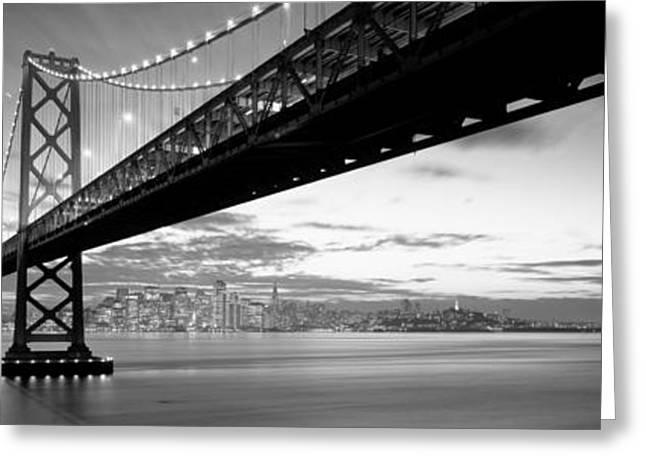 Twilight, Bay Bridge, San Francisco Greeting Card by Panoramic Images