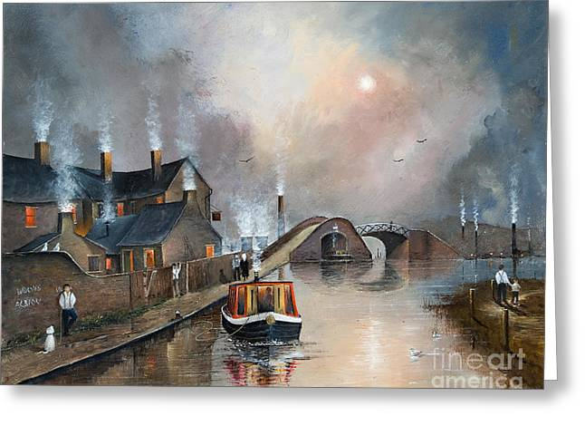 Barges Greeting Cards Greeting Cards - Twilight Departure Greeting Card by Ken Wood