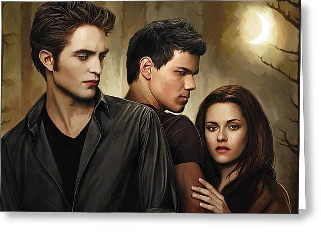 Twilight  Kristen Stewart And Robert Pattinson Artwork 2 Greeting Card by Sheraz A