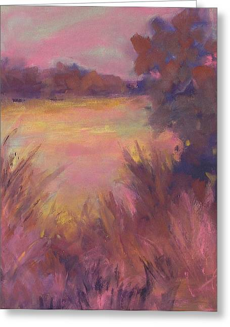 Twilight Pastels Greeting Cards - Twilight on the Marsh Greeting Card by Karen Ann Patton