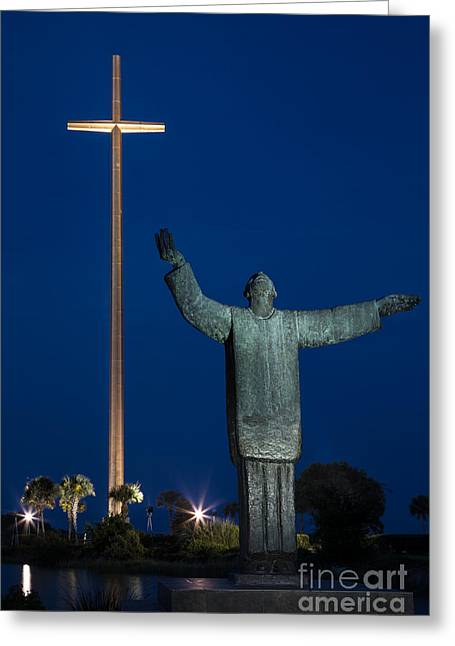 First-lady Greeting Cards - Twilight over Father Francisco Lopez de Mendoza Grajales statue Mission Nombre de Dios St. Augustine Greeting Card by Dawna  Moore Photography