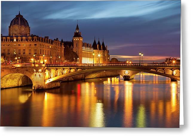 Twilight Over River Seine Greeting Card by Brian Jannsen
