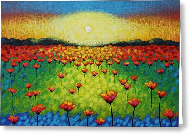 Acrylic Greeting Cards - Twilight Poppies Greeting Card by John  Nolan