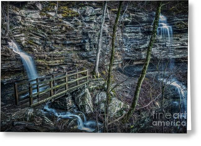 Devils Den Greeting Cards - Twin Falls Greeting Card by Larry McMahon