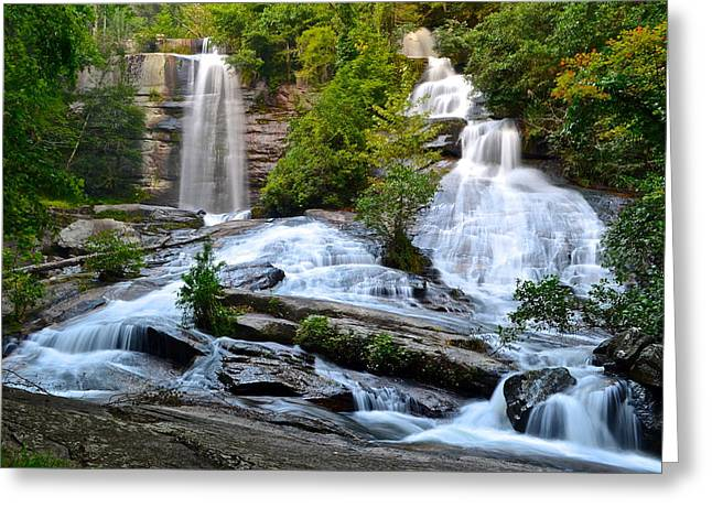 Euphoria Greeting Cards - Twin Falls South Carolina Greeting Card by Frozen in Time Fine Art Photography