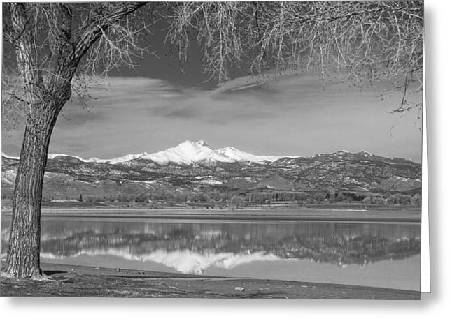 Colorado Greeting Cards - Twin Peaks Longs and Meeker Lake Reflection BW Greeting Card by James BO  Insogna