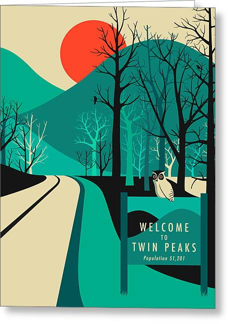 Twin Greeting Cards - Twin Peaks Travel Poster Greeting Card by Jazzberry Blue