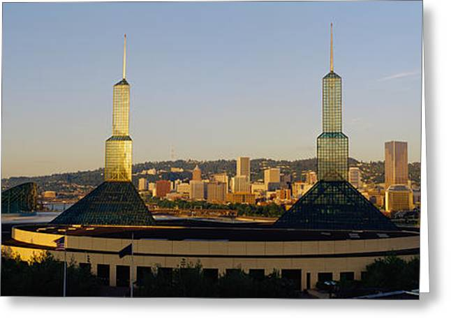 Overcast Day Greeting Cards - Twin Towers Of A Convention Center Greeting Card by Panoramic Images