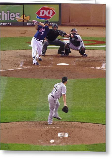 Ballpark Mixed Media Greeting Cards - Twins Vs White Sox  Greeting Card by Todd and candice Dailey
