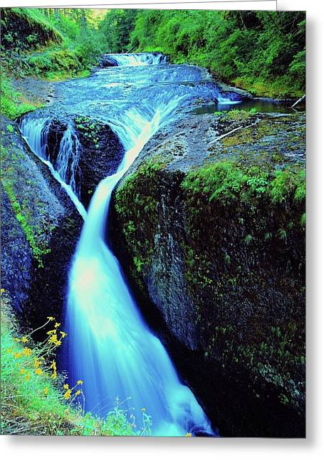 Eagle Creek Greeting Cards - Twister Falls  Greeting Card by Jeff  Swan