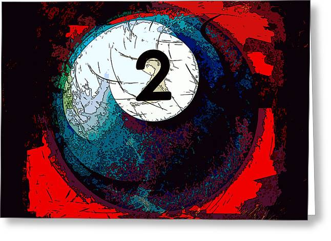 Cushion Greeting Cards - Two Ball Billiards Abstract Greeting Card by David G Paul