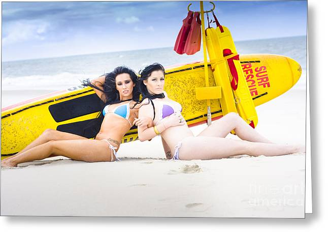 Surf Lifestyle Greeting Cards - Two Beautiful Women Together On Beach Greeting Card by Ryan Jorgensen