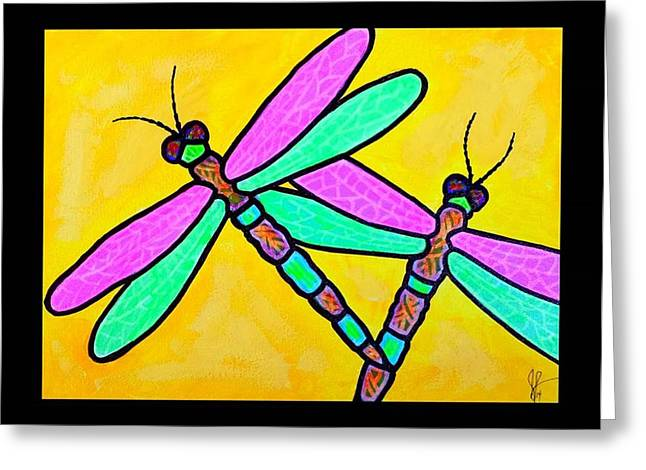 Jim Harris Greeting Cards - Two Dragonflies Greeting Card by Jim Harris