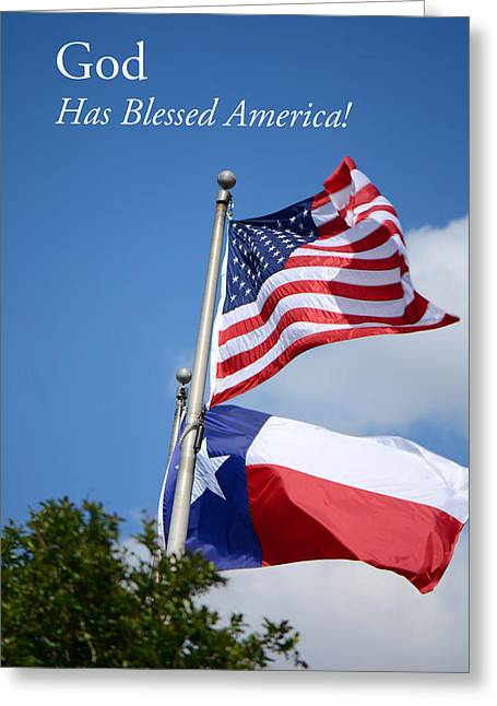 God Has Blessed America Greeting Card by Connie Fox