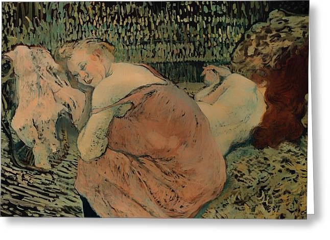 In Bed Greeting Cards - Two Friends Greeting Card by Henri de Toulouse-Lautrec