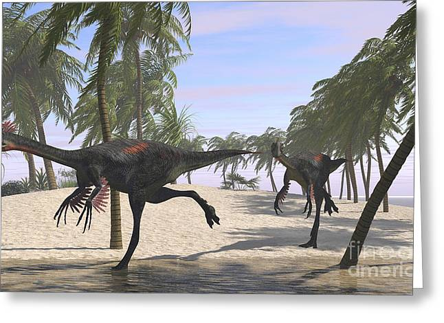 Bird On Tree Greeting Cards - Two Gigantoraptors Running Greeting Card by Kostyantyn Ivanyshen