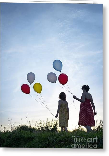 Helium Greeting Cards - Two Girls With Balloons Greeting Card by Lee Avison