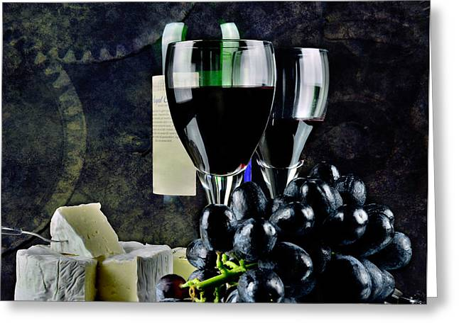 Goblet Greeting Cards - Two glasses of red wine a cammembert Greeting Card by Toppart Sweden