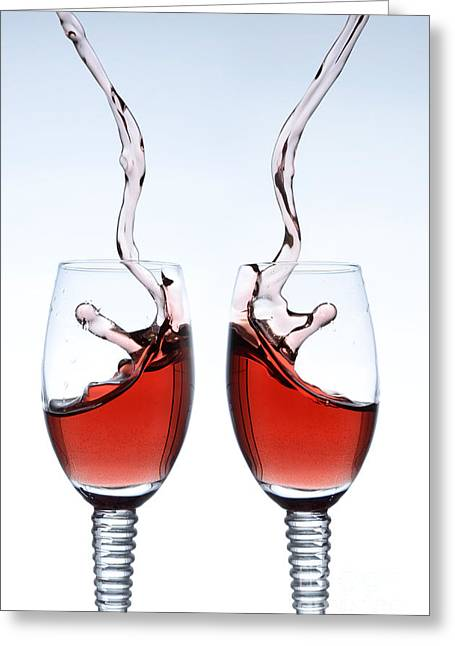Red Wine Splash Greeting Cards - Two glasses of red wine Greeting Card by Andreas Berheide