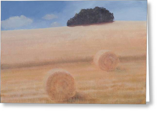 Hay Bales Photographs Greeting Cards - Two Hay Bales, 2012 Acrylic On Canvas Greeting Card by Lincoln Seligman