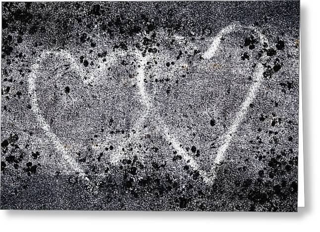 Grungy Greeting Cards - Two Hearts Graffiti Love Greeting Card by Carol Leigh