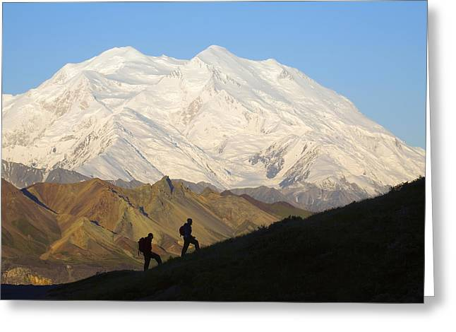 Pleasure Pair Greeting Cards - Two Hikers View Mckinley At Grassy Pass Greeting Card by Jeff Schultz
