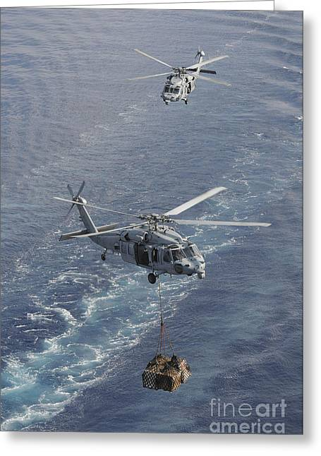 At Arrivals Greeting Cards - Two Mh-60s Sea Hawk Helicopters Greeting Card by Stocktrek Images
