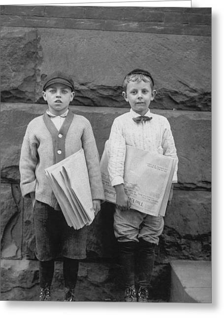 Duo Greeting Cards - Two newspaper boys Greeting Card by Aged Pixel