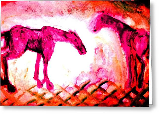 Component Paintings Greeting Cards - Two Of A Kind Greeting Card by Hilde Widerberg