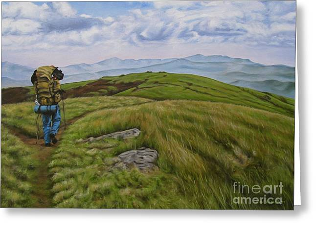Backpacking Paintings Greeting Cards - Two paths diverged on a bald and sorry I could not travel both Greeting Card by Ann Holder