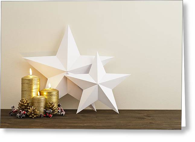 Paper Cut Greeting Cards - Two stars with gold candles Greeting Card by Ulrich Schade