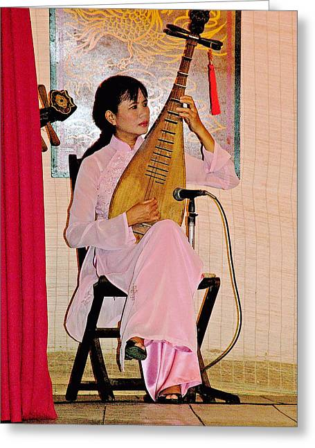 Binh Greeting Cards - Two-stringed Lute Player at Wedding Ceremony Show in Binh Quoi Village-Vietnam  Greeting Card by Ruth Hager