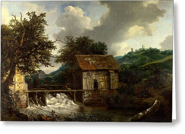 Old Masters Greeting Cards - Two Watermills and an Open Sluice at Singraven Greeting Card by Celestial Images