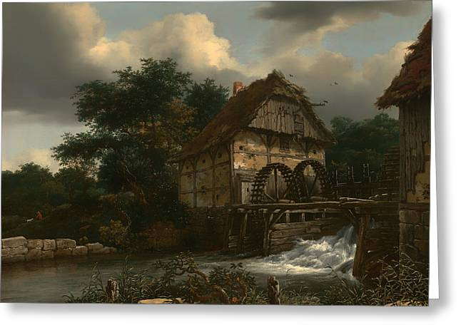Sluice Greeting Cards - Two Watermills and an Open Sluice  Greeting Card by Jacob van Ruisdael