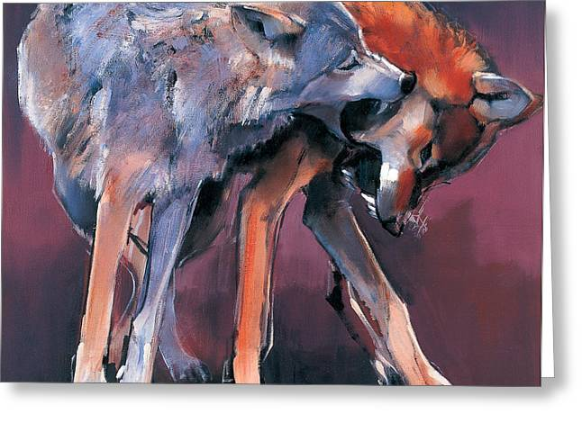 Two Wolves Greeting Card by Mark Adlington