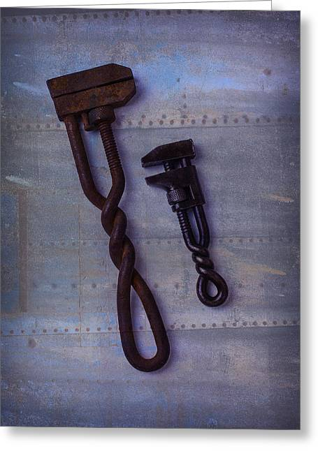 Industrial Concept Greeting Cards - Two Wrenches Greeting Card by Garry Gay