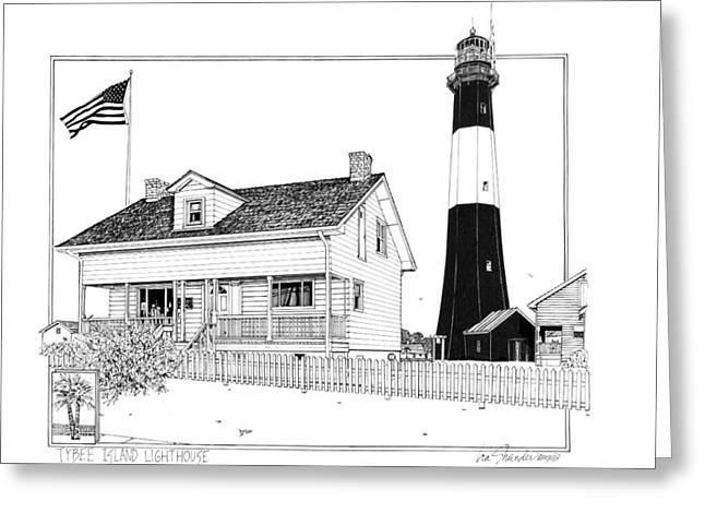 Pen And Ink Drawing Greeting Cards - Tybee Island Lighthouse Greeting Card by Ira Shander
